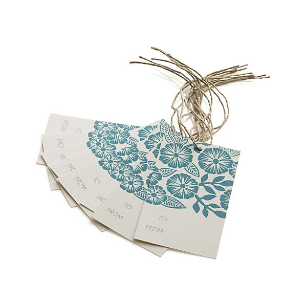Set of 8 Block-Printed Flower Gift Tags