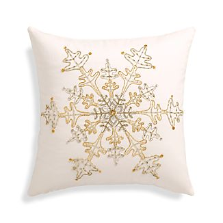 "Flurry White 18"" Snowflake Pillow with Feather-Down Insert"