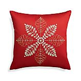 "Flurry Red 18"" Snowflake Pillow with Down-Alternative Insert"