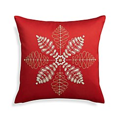 "Flurry Red 18"" Snowflake Pillow with Feather-Down Insert"