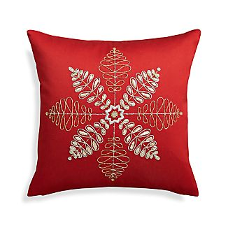 "Flurry Red 18"" Snowflake Pillow"