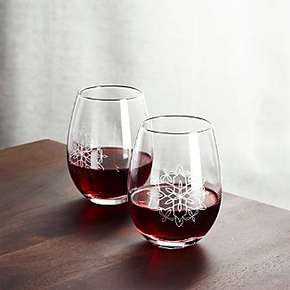 Flurry Etched Snowflake Stemless Wine Glass
