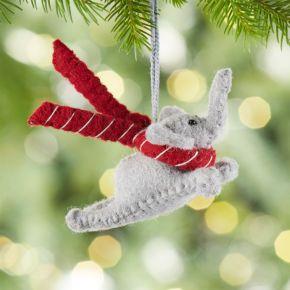 Flying Grey Elephant Felt Ornament