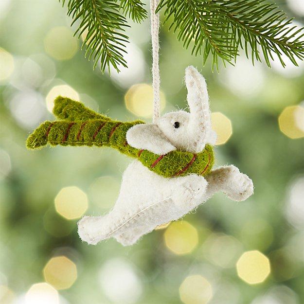 Flying White Elephant Felt Ornament
