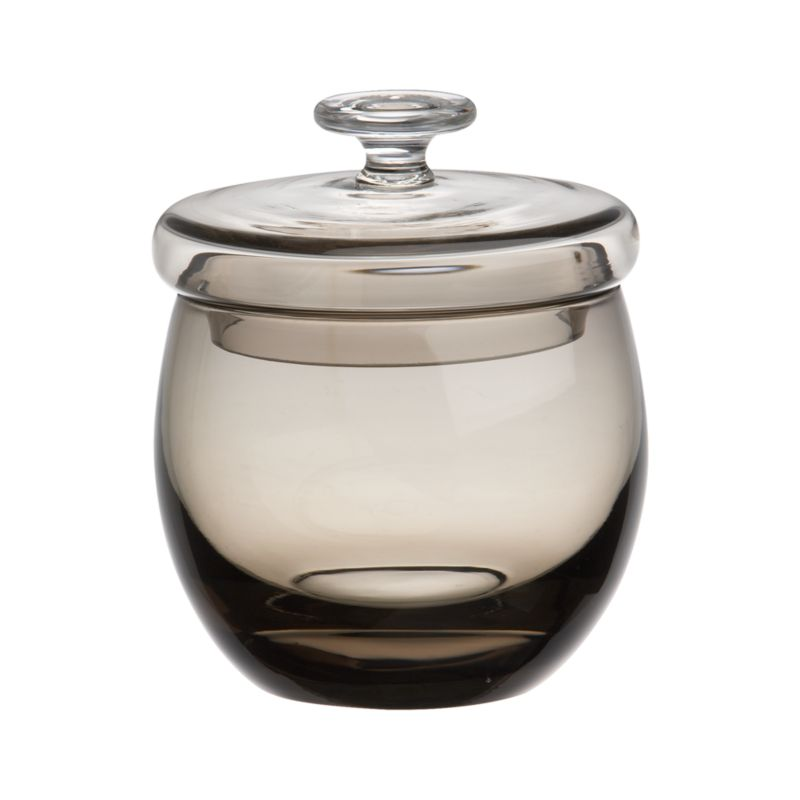 Lidded sugar bowl gets a glamorous makeover in a rich smoky hue, handcrafted of encased glass with a clean rounded profile and topped with dramatic lid.<br /><br /><NEWTAG/><ul><li>Handcrafted</li><li>Encased glass</li><li>Hand wash</li><li>Made in China</li></ul>