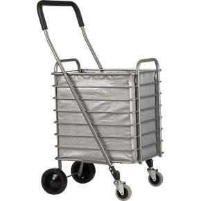 Folding Shopping Cart with Grey Cart Liner