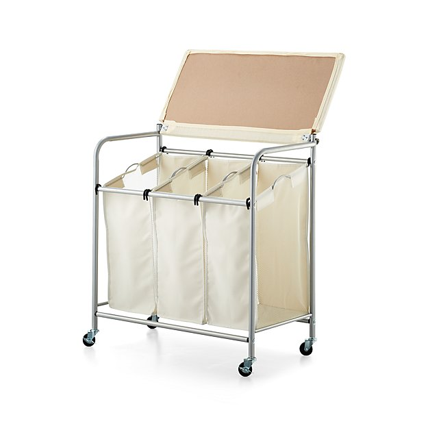 triple laundry sorter with ironing board crate and barrel. Black Bedroom Furniture Sets. Home Design Ideas