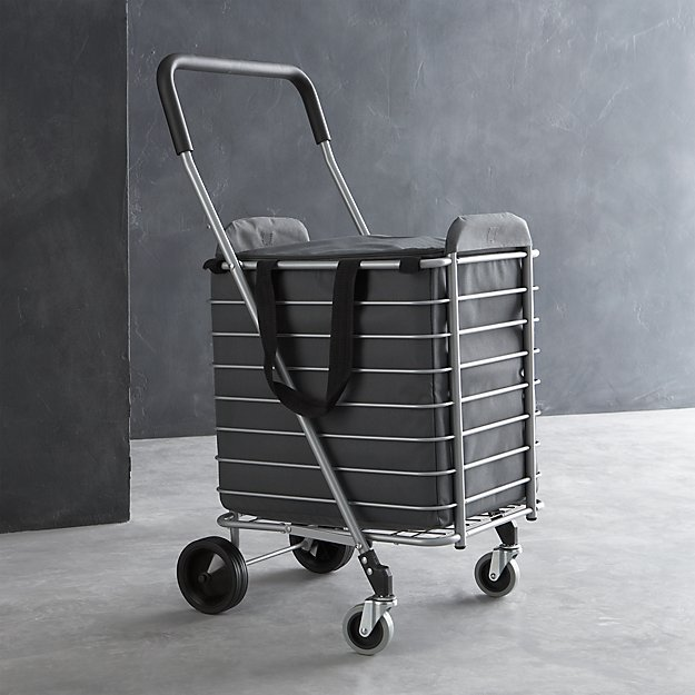 Polder folding shopping cart with insulated grey liner for Collapsible kitchen cart