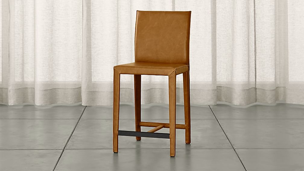 Folio Top Grain Leather Bar Stool Sienna Crate And Barrel