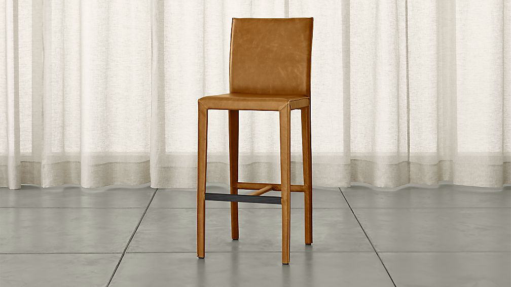 Folio Top Grain Leather Bar Stool Allure Sienna Crate