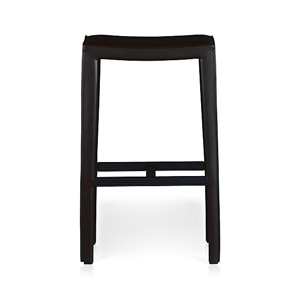 "Folio Ebony Leather 30"" Backless Barstool"