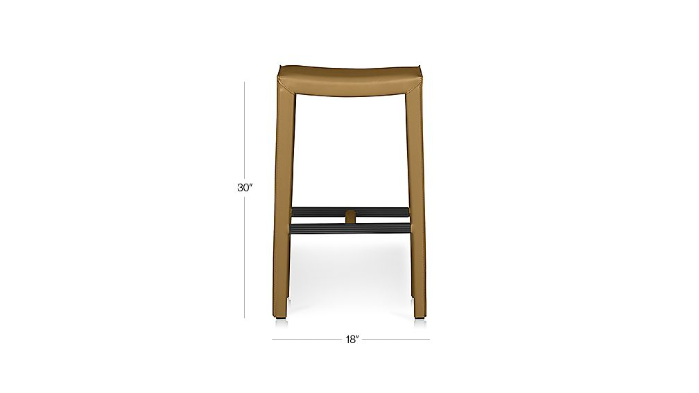 Folio Top Grain Leather Backless Bar Stool Allure Sienna