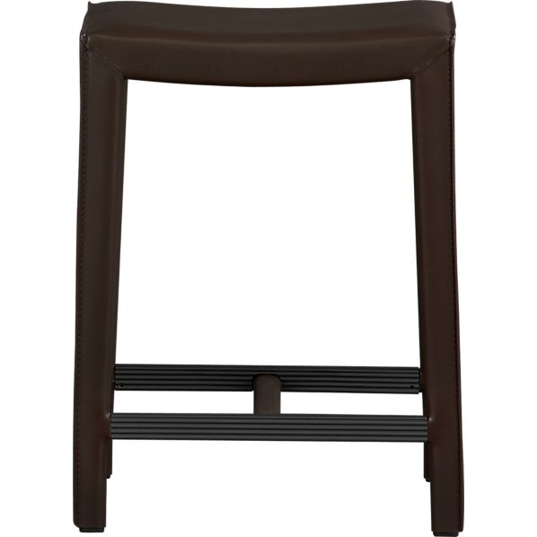 "Folio 24"" Chocolate Leather Backless Counter Stool"