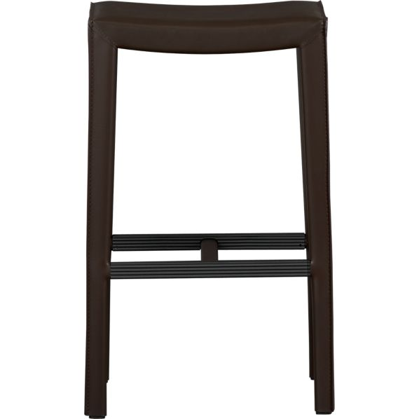 "Folio 30"" Chocolate Leather Backless Barstool"