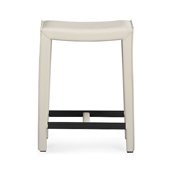"Folio Oyster Leather 24"" Backless Counter Stool"