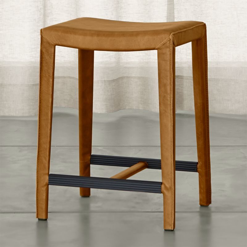 Folio Top Grain Leather Backless Counter Stool Allure