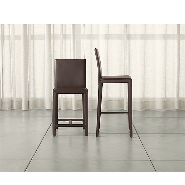 Folio Chocolate Bonded Leather Bar Stools