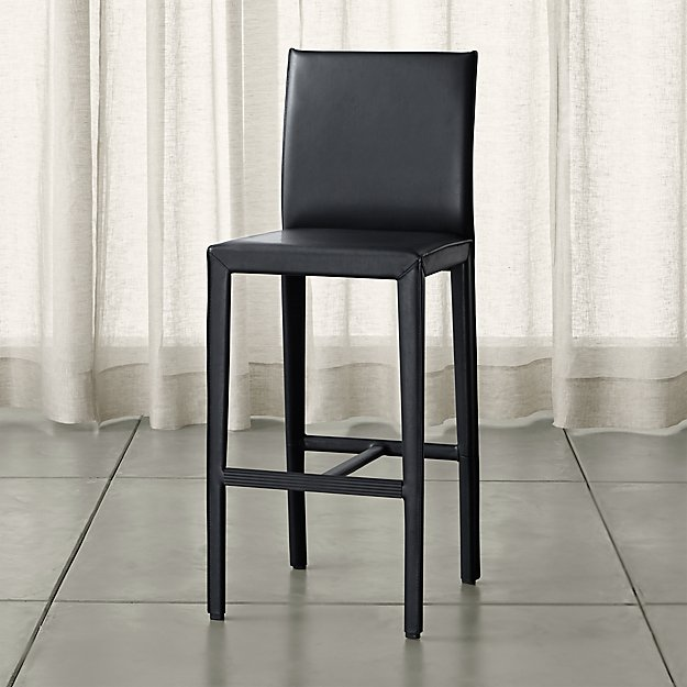 Folio Ebony Bonded Leather Bar Stool