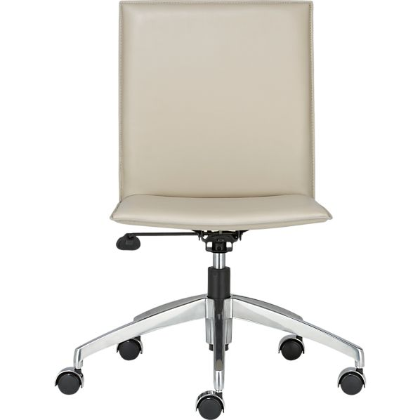 Folio Oyster Leather Office Chair with Hooded Casters