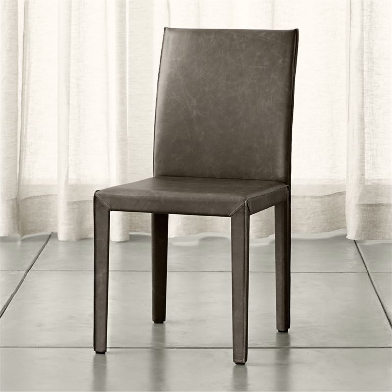 Crate And Barrel Dining Room Chairs: Folio Granite Grey Top-Grain Leather Dining Chair Allure
