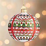 Folkloric Red and Green Scallop Ball Ornament