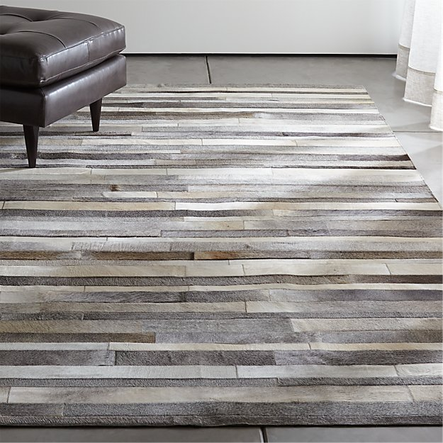 Fonda Grey Striped Cowhide Rug