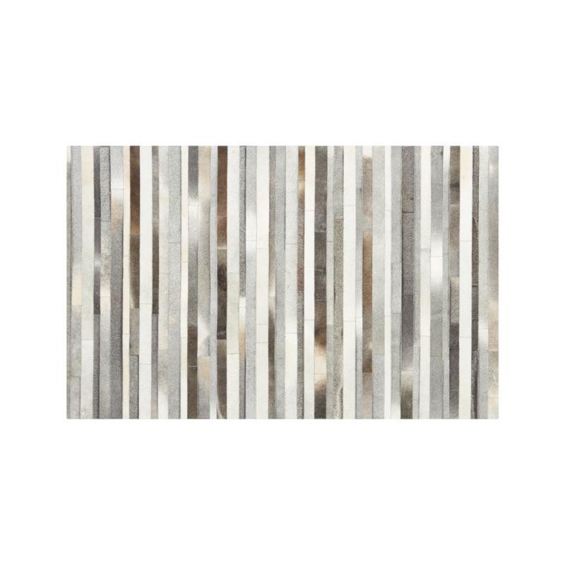 Fonda Grey Striped Cowhide 5'x8' Rug
