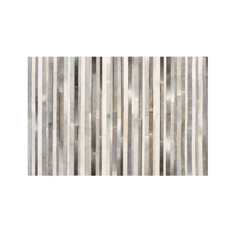 Fonda Grey Striped Cowhide 6'x9' Rug