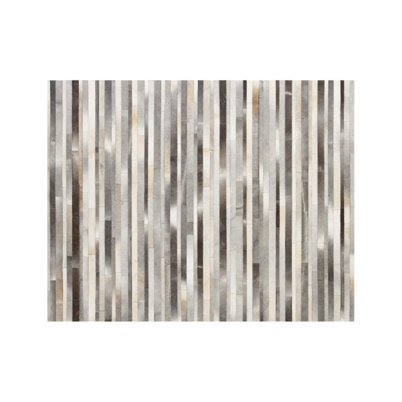 Fonda Grey Striped Cowhide 8'x10' Rug