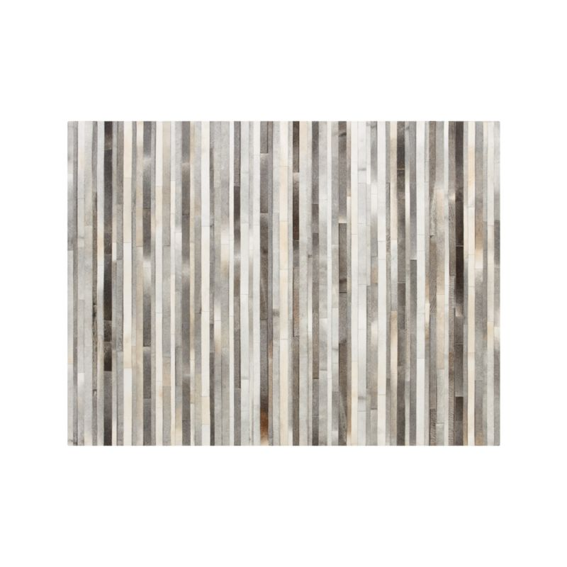 Fonda Grey Striped Cowhide 10'x14' Rug