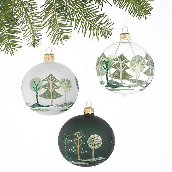 Set of Three Forest Tonal Green Ball Ornaments
