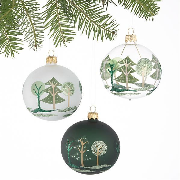 Set of Three Forest Tonal Green Ball Ornaments