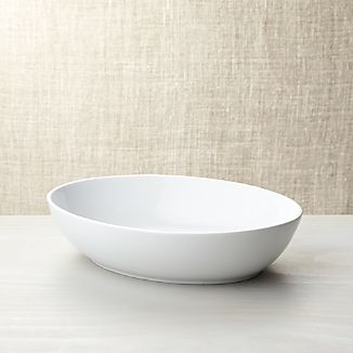 Form Large White Oval Serving Bowl