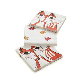 Set of 20 Fox Paper Beverage Napkins