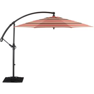 10' Round Sunbrella® Red Multi Stripe Free-Arm Umbrella with Base