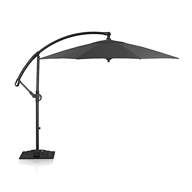 10' Round Sunbrella ® Charcoal Cantilever Patio Umbrella with Base