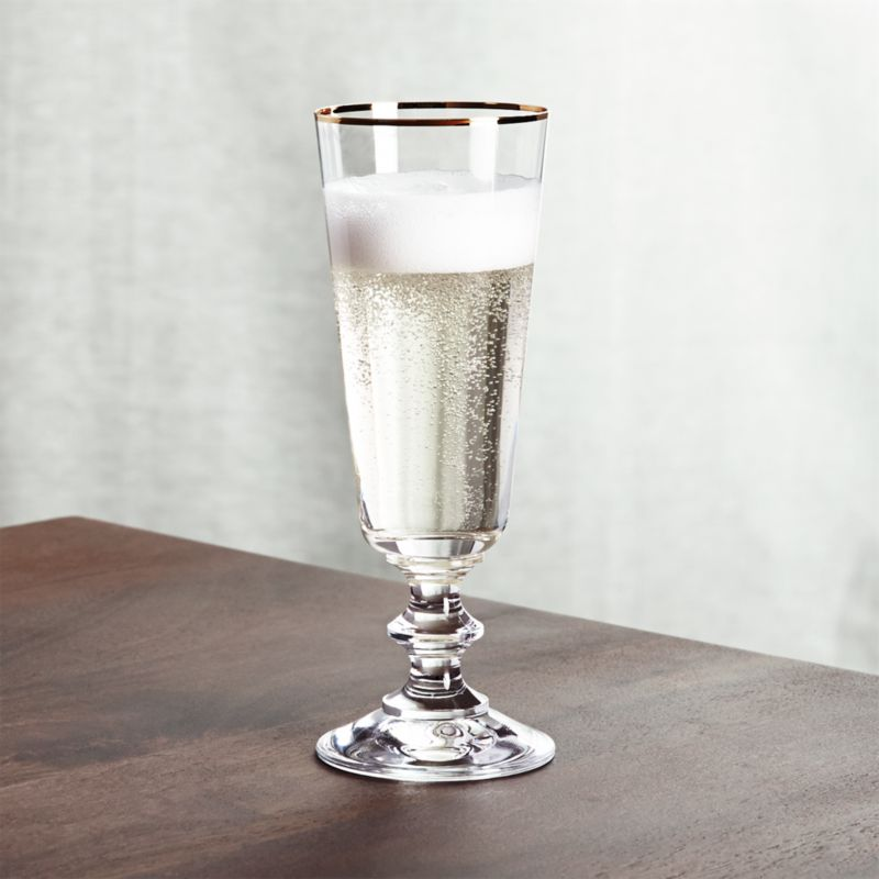 French Champagne Glass With Gold Rim Crate And Barrel