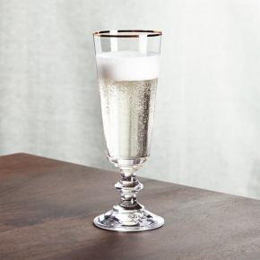 French Champagne Glass with Gold Rim