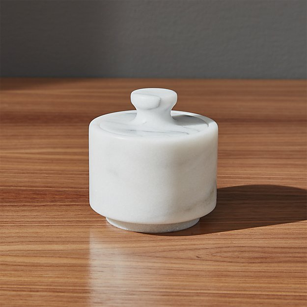French Marble Salt Cellar With Lid Crate And Barrel