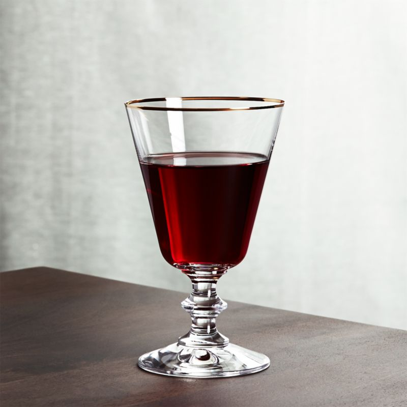 French Wine Glass with Gold Rim
