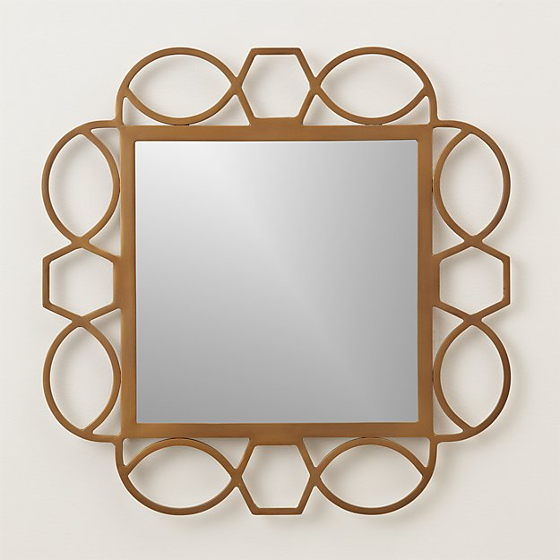 Fretwork Brass Square Wall Mirror