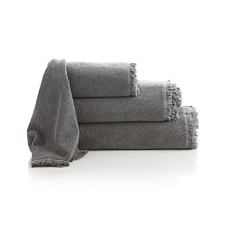 Fringe Grey Bath Towels