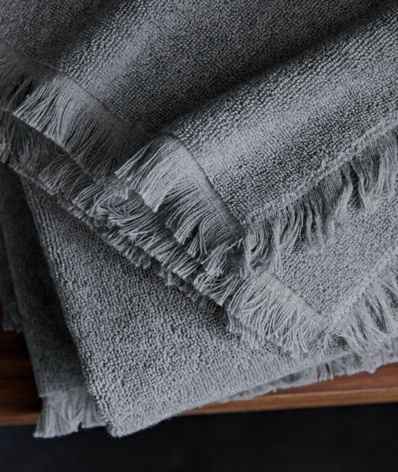Fringe Grey Bath Towels
