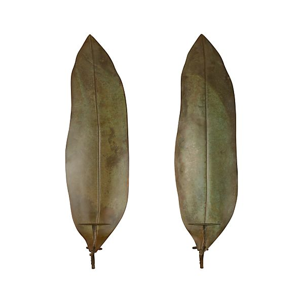 Set of 2 Frond Candle Sconces