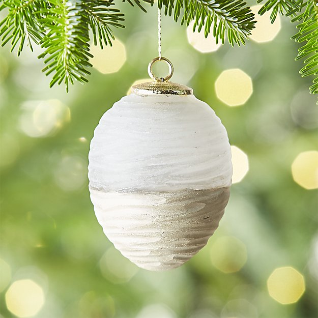Frosted Cut Glass Drop Ornament