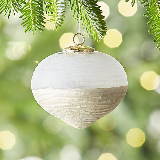 Frosted Cut Glass Onion Ornament