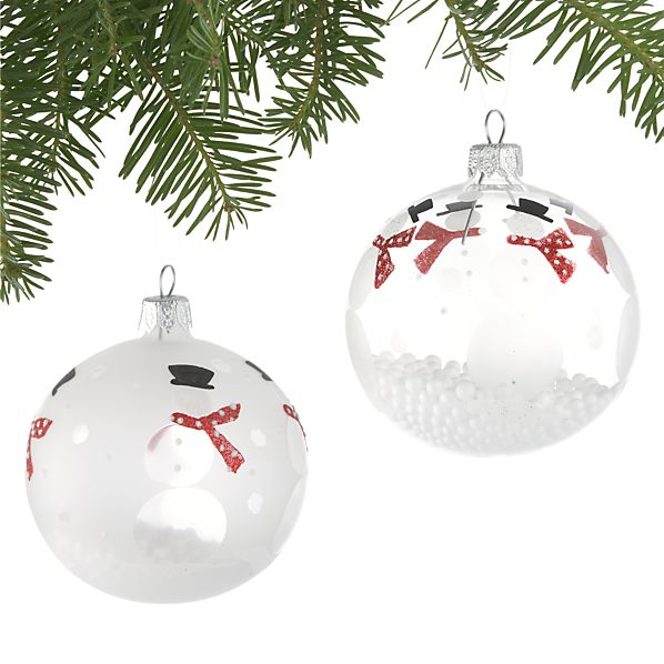 Set of Two Frosted Snowman with Snowballs Ornaments