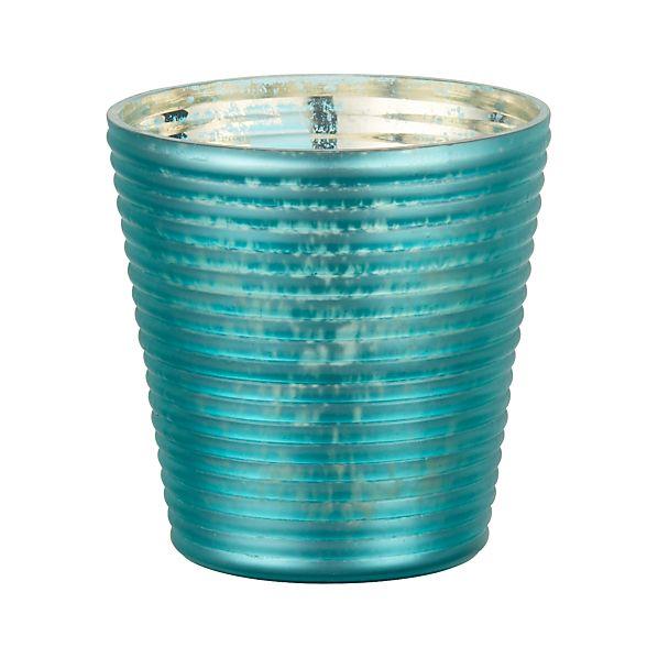 Frosted Aqua Candleholder