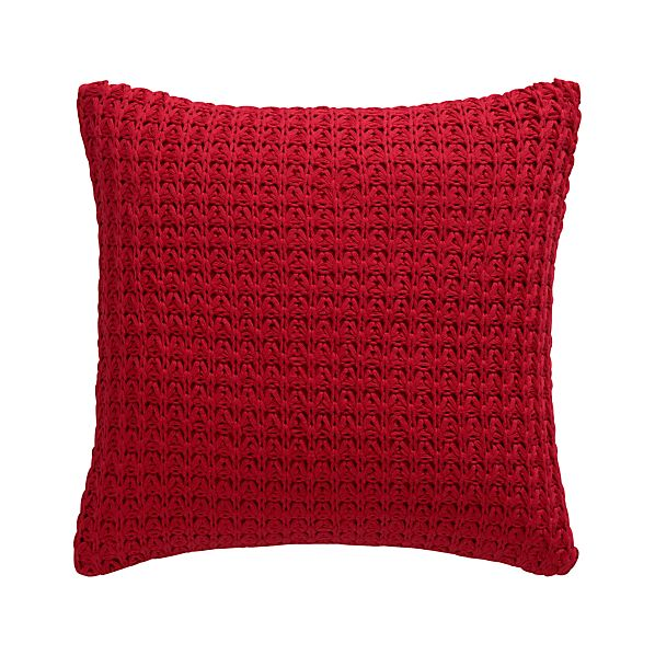 "Fujita Red 18"" Pillow with Feather-Down Insert"