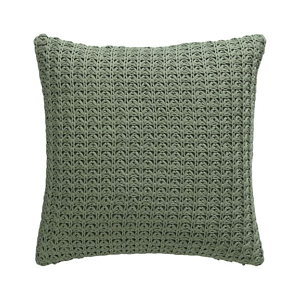 "Fujita Sage 18"" Pillow with Feather-Down Insert"
